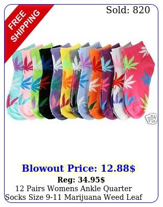 pairs womens ankle quarter socks size marijuana weed leaf fashion casua