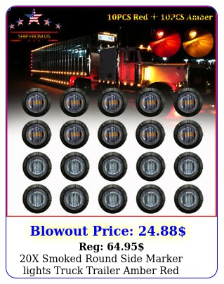 x smoked round side marker lights truck trailer amber red led bullet ligh