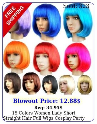 colors women lady short straight hair full wigs cosplay party bob hair wig u