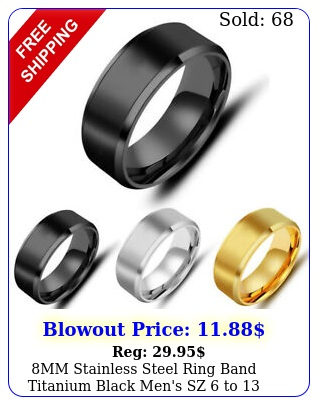 mm stainless steel ring band titanium black men's sz to wedding ring