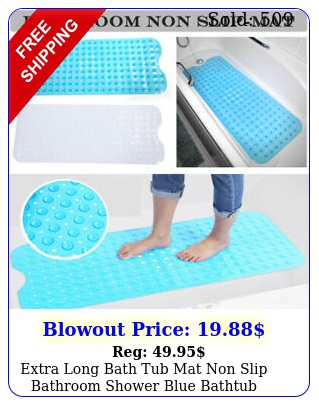 extra long bath tub mat non slip bathroom shower blue bathtub antibacteria