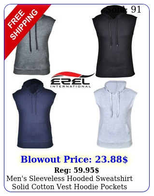men's sleeveless hooded sweatshirt solid cotton vest hoodie pockets gym tank to