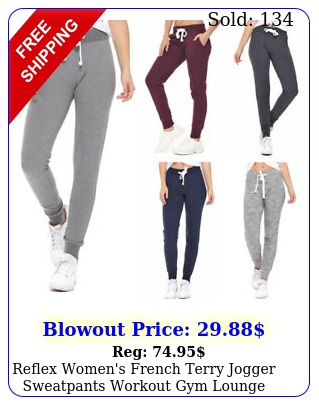 reflex women's french terry jogger sweatpants workout gym lounge cotton kni