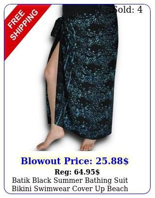 batik black summer bathing suit bikini swimwear cover up beach sarong wra