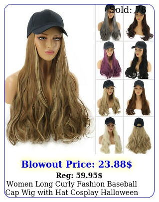 women long curly fashion baseball cap wig with hat cosplay halloween party hai