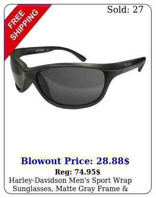 harleydavidson men's sport wrap sunglasses matte gray frame smoke lense