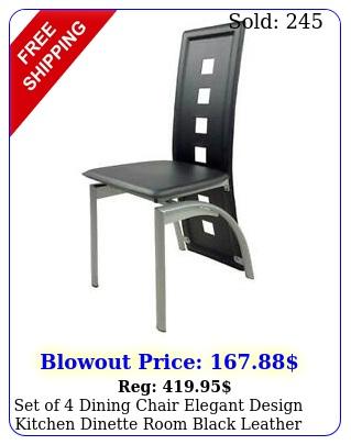 set of dining chair elegant design kitchen dinette room black leather backres