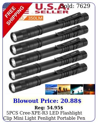 pcs creexper led flashlight clip mini light penlight portable pen torch lam