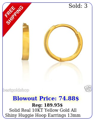 solid real kt yellow gold all shiny huggie hoop earrings mm great gift ide