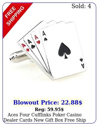 aces four cufflinks poker casino dealer cards gift free ship us