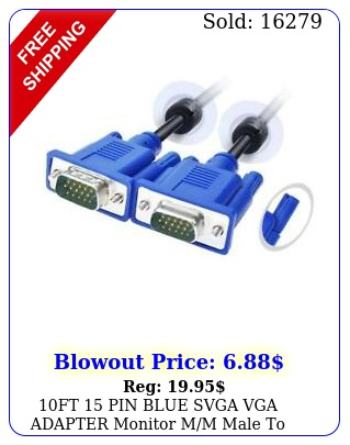 ft pin blue svga vga adapter monitor mm male to male cable cord pc t