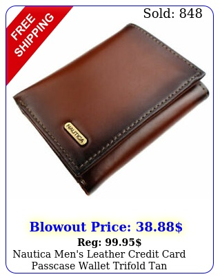 nautica men's leather credit card passcase wallet trifold tan nu