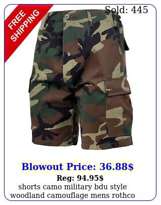 shorts camo military bdu style woodland camouflage mens rothc