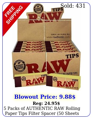 packs of authentic raw rolling paper tips filter spacer sheets p
