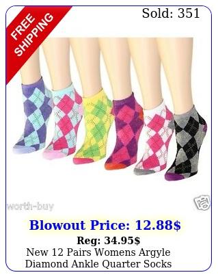 pairs womens argyle diamond ankle quarter socks fashion casual siz