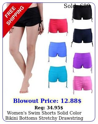 women's swim shorts solid color bikini bottoms stretchy drawstring boy short