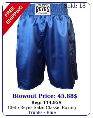 cleto reyes satin classic boxing trunks blu