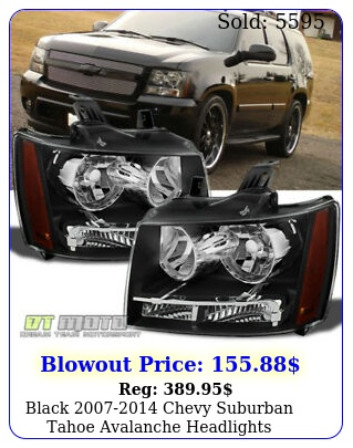 black chevy suburban tahoe avalanche headlights aftermarket left righ