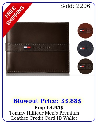 tommy hilfiger men's premium leather credit card id wallet billfold tl