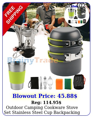 outdoor camping cookware stove set stainless steel cup backpacking picnic hikin