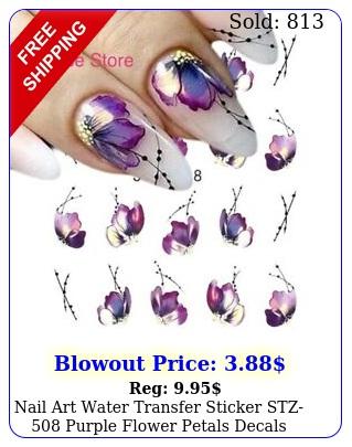 nail art water transfer sticker stz purple flower petals decals manicur
