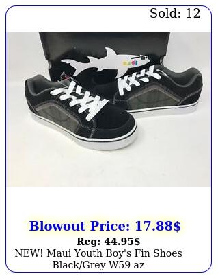 new maui youth boy's fin shoes blackgrey w a