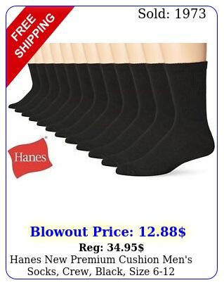 hanes premium cushion men's socks crew black siz
