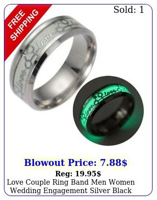 love couple ring band men women wedding engagement silver black size
