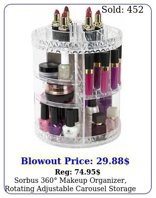 sorbus makeup organizer rotating adjustable carousel storag