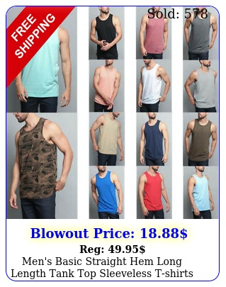 men's basic straight hem long length tank top sleeveless tshirts sxl tt