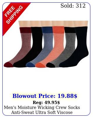 men's moisture wicking crew socks antisweat ultra soft viscose bamboo pac