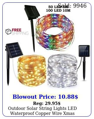 outdoor solar string lights led waterproof copper wire xmas garden party deco