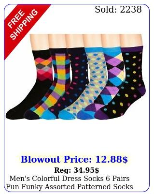 men's colorful dress socks pairs fun funky assorted patterned socks siz