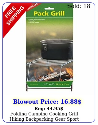 folding camping cooking grill hiking backpacking gear sport outdoor chrome s