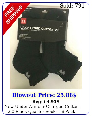 under armour charged cotton black quarter socks  pac