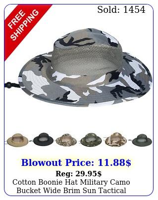 cotton boonie hat military camo bucket wide brim sun tactical fishing mesh viso