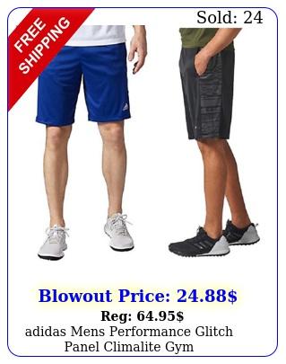 adidas mens performance glitch panel climalite gym athleticworkout short