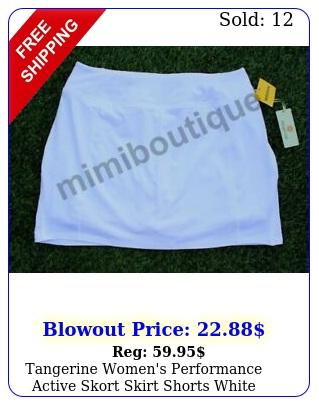 tangerine women's performance active skort skirt shorts white bottom excercis