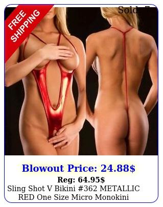 sling shot v bikini metallic red one size micro monokini lingerie swim wea