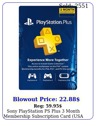 sony playstation ps plus month membership subscription card usa regio