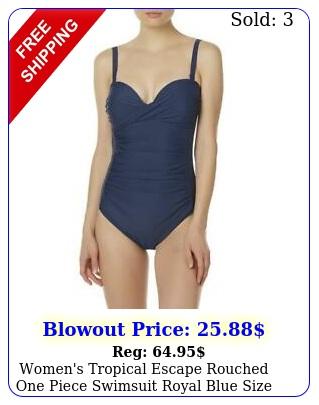 women's tropical escape rouched one piece swimsuit royal blue siz