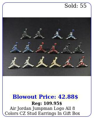 air jordan jumpman logo all colors cz stud earrings in gif