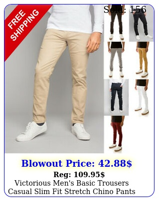 victorious men's basic trousers casual slim fit stretch chino pants    d