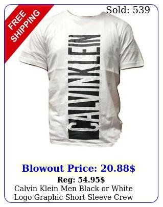 calvin klein men black or white logo graphic short sleeve crew neck tshir