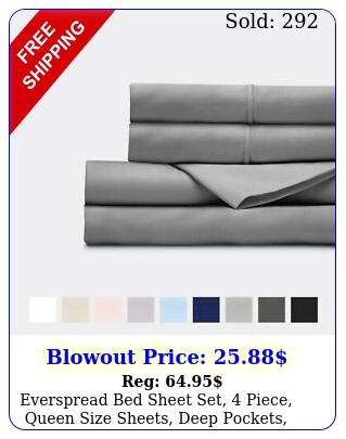 everspread bed sheet set piece queen size sheets deep pockets ultra sof