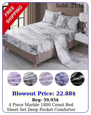 piece marble count bed sheet set deep pocket comforter cover soft beddin