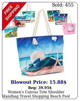 women's canvas tote shoulder handbag travel shopping beach pool ba