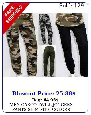 men cargo twill joggers pants slim fit color