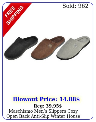 maschismo mens slippers cozy open back antislip winter house shoes tpr sol