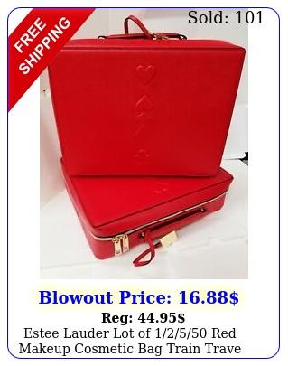 estee lauder lot of  red makeup cosmetic bag train trave cas